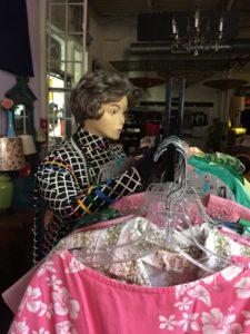 Tilly sorting the vintage dresses